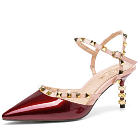 Stilettos Summer Designer Ankle Strap Studded Burgundy Leather Sandals Classic Evening Party Shoes Mid Heel
