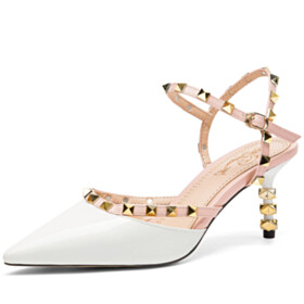 Summer Classic Buckle Designer Sexy With Ankle Strap Mid Heels White Stilettos Evening Party Shoes Womens Sandals Studded