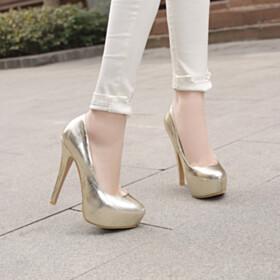 5 inch High Heel Fashion Pumps Platform Gold Stiletto Round Toe