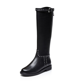 Riding Boots Black Classic Fur Lined Flat Shoes Round Toe Leather Mid Calf Boot Studded