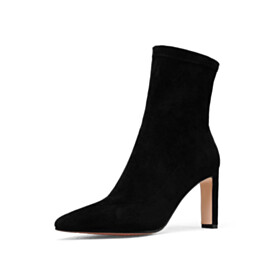 Stiletto Classic Booties Fur Lined Sock Suede Black 8 cm High Heel Slip On Pointed Toe