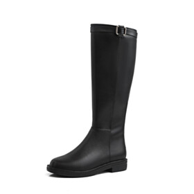 Leather Black Round Toe Boots Closed Toe Riding Boot Flat Shoes Classic