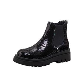 Flats High Top Platform Black Winter Stylish Sparkly Women Shoes