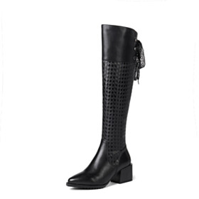 Classic Leather Black Riding Boots Checkered Knee High Boot Block Heel Pointed Toe Chunky 6 cm Mid Heel