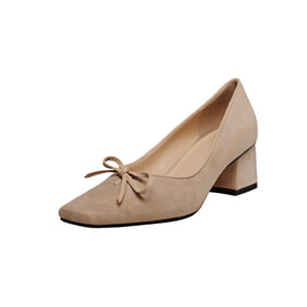 Fashion Comfort With Bowknot Low Heeled Business Casual Shoes Pumps