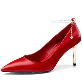 Pointed Toe Red Elegant Dress Shoes Stiletto Heels Office Shoes High Heel Grained Pumps Leather Classic With Pearls