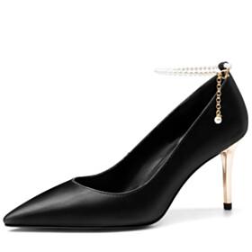 Classic 8 cm High Heels Ankle Strap Dress Shoes Elegant Grained Business Casual Shoes Pumps