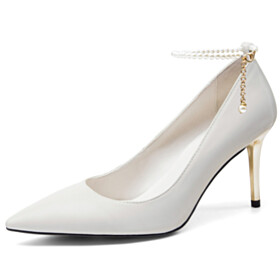 Full Grain Stilettos Classic 3 inch High Heeled Leather Pearls Office Shoes With Ankle Strap Closed Toe Pumps