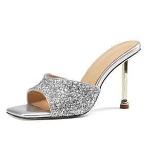 Sandals Silver 3 inch High Heel Going Out Shoes Ankle Lace Up Party Shoes Sparkly Peep Toe Mules