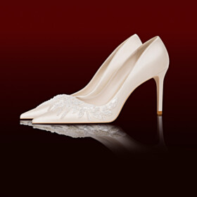 Flowers Pumps Beautiful White 3 inch High Heel Evening Party Shoes Dressy Shoes Wedding Shoes