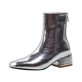 Metallic Thick Heel Patent Leather Silver Comfort 2 inch Low Heel Leather Square Toe Booties 2021 Block Heels