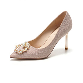 6 cm Mid Heels Bridal Shoes Sequin Slip On Rose Gold Party Shoes Womens Footwear Stilettos Closed Toe