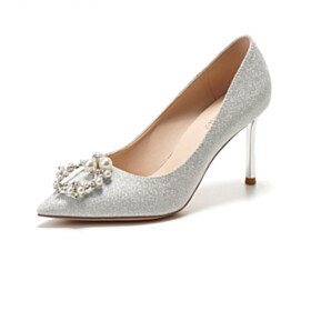 Wedding Shoes Silver Womens Shoes Mid Heel Pearls Sequin Pumps Slip On