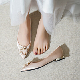Ballet Pointed Toe Shoes Tulle Flats Bridals Wedding Shoes