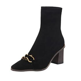 Classic Mid Heel Sock Boots Black Ankle Boots Closed Toe Velvet