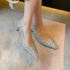 Closed Toe Pumps 6 cm Mid Heel Chunky Heel Pointed Toe Evening Party Shoes Sparkly Dance Silver