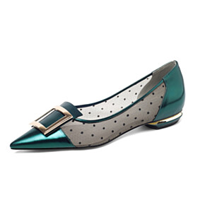 Ballerinas Womens Footwear Business Casual Shoes With Metal Jewelry Flats With Polka Dots