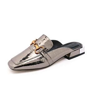 Sparkly Comfortable Mules Metallic Thick Heel Bronze Spring Block Heel Embossed Low Heel Sandals Leather