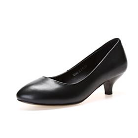 Almond Toe Black Classic Pumps Shoes Kitten Heel 4 cm Low Heel