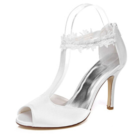 Appliques Sandals Ankle Strap 2020 White 9 cm High Heels Stiletto Wedding Shoes