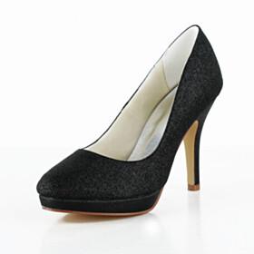 Slip On Pumps Satin Black High Heel Stiletto