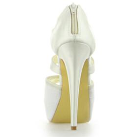 Womens Sandals High Heel Platform Open Toe Wedding Shoes For Bridal Lace Dress Shoes