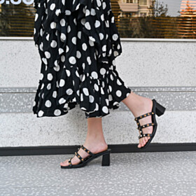 Classic Low Heeled Studded Gladiator Heeled Summer Slip On Chunky Sandals Open Toe Block Heel Strappy