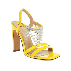Leather With Rhinestones Stylish Strappy Yellow Patent Sandals Sparkly High Heel Fringe Peep Toe With Ankle Strap