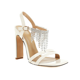 Rhinestones Sandals With Ankle Strap Fringe Strappy 10 cm High Heels Chunky Open Toe Party Shoes Fashion