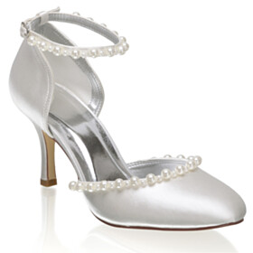 With Ankle Strap Ivory Pearls 3 inch High Heel Dress Shoes Wedding Shoes Sandals For Women Satin Stiletto