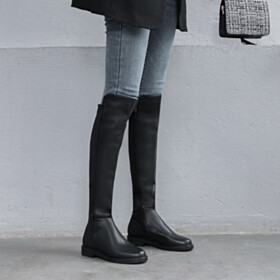 Shoes Riding Leather 2020 Knee High Boot Going Out Footwear Black Classic Winter