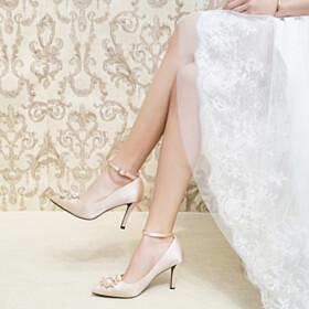 Champagne Evening Shoes Stilettos High Heel Pumps Elegant Bridal Shoes