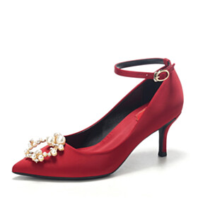 High Heels Burgundy With Ankle Strap Beautiful Pointed Toe Bridal Shoes With Pearl