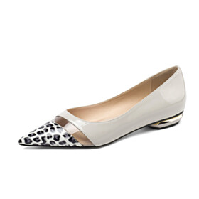 White Clear Leopard Flats Shoes Comfort