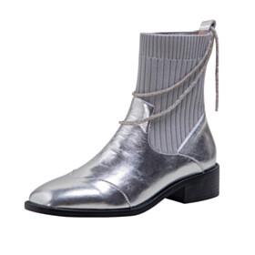 Sweater Comfort Silver Ankle Boots Business Casual Leather Sock Flats Sparkly Metallic