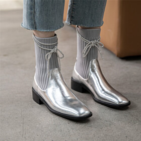 Chelsea Boots Fur Lined Sweater Metallic Fashion Booties Sparkly Silver