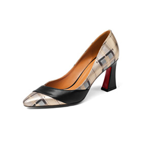 Business Casual Shoes Pumps Mid Heel Chunky