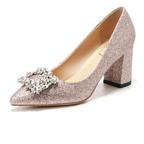 Block Heels Pumps Crystal Party Shoes Pointed Toe Sequin Comfort Slip On 2 inch Low Heel Wedding Shoes For Bridal