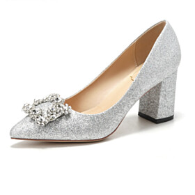 Comfort Sparkly Evening Shoes Silver Chunky Heel Glitter Low Heels Crystal Pointed Toe Bridal Shoes Block Heel Pumps