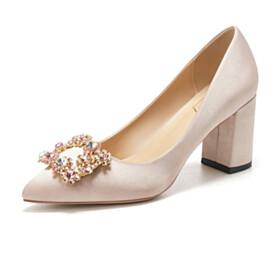 Block Heels Slip On Wedding Shoes Pointed Toe Womens Footwear Pumps 2 inch Low Heel Champagne