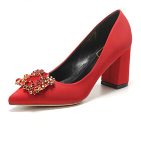 Block Heels Crystal Low Heeled Pumps Pointed Toe Chunky Womens Shoes