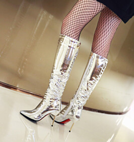 Stiletto Pointed Toe Red Bottoms Silver Fashion Mid Calf Boots Going Out Shoes 10 cm High Heel