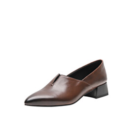 Leather Pointed Toe Low Heel Ombre Comfortable