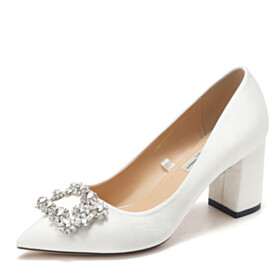With Crystal Pointed Toe Pumps White 5 cm Low Heel Wedding Shoes For Bridal Elegant Block Heels Womens Footwear