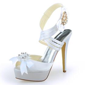 Bowknot Strappy Pearl Sandals Stiletto Wedding Shoes For Women Platform Heel White Sweet Heart Open Toe 13 cm High Heels