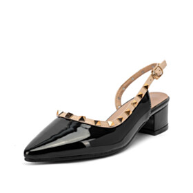 Closed Toe Pointed Toe Slingback Low Heeled Studded 2021 Going Out Shoes Fashion Block Heel Chunky Black Classic