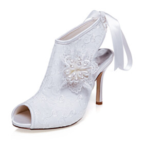 Embroidered Party Shoes Slingback Booties Open Toe High Heels Vintage Wedding Shoes Satin White