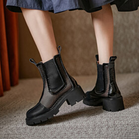 Cut Out Sandals Chelsea Boots Leather Booties Vintage Tulle Closed Toe Sandal Boots Flats