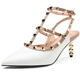 7 cm Heel Gladiator White Natural Leather Stylish Designer Womens Sandals Party Shoes Studded