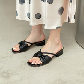 Sandals Cute Slipper Leather Thick Heel Black 1 inch Low Heels